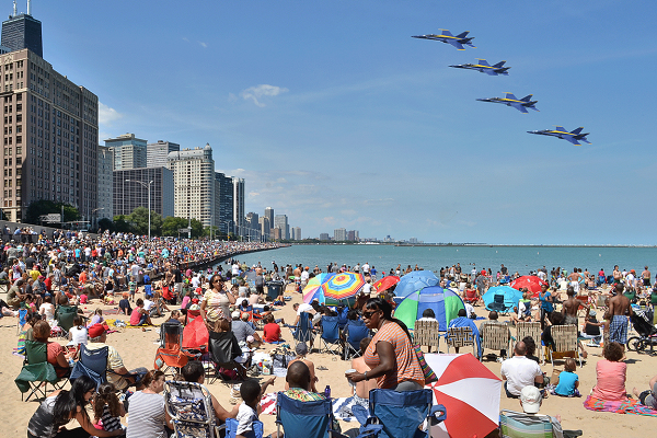 watching the FREE chicago air and water show