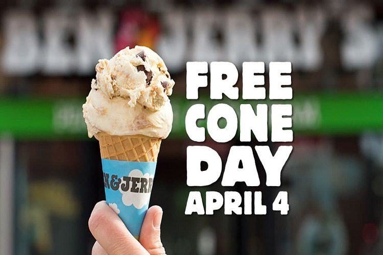 free ice cream cone day april 4