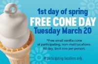 dairy queen free cone day 2018