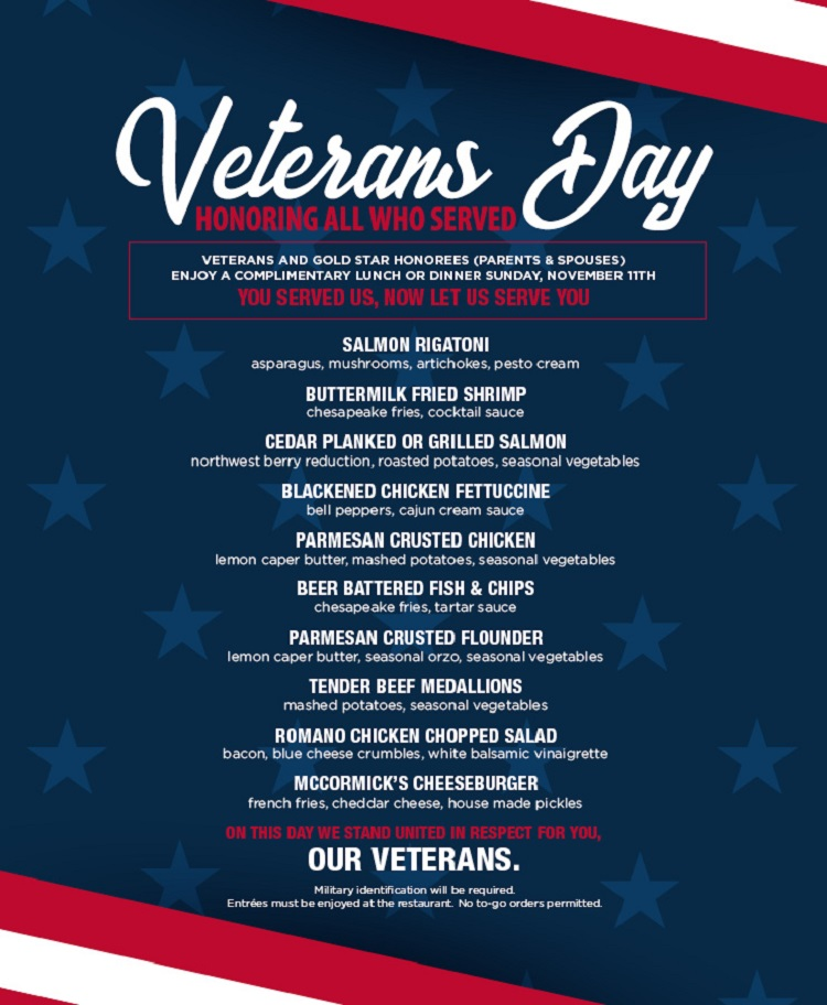 FREE FOOD Veterans-Day-mCcormicks