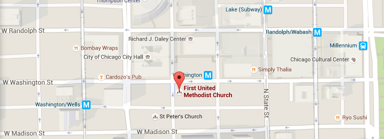 map of Chicago united methodist chapel in the sky